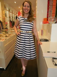 Kate Spade manager, Karen Morian, in a dress from the Spring collection.