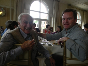 Klaus Obermeyer and Vince at Aspen Chamber (ACRA) lunch