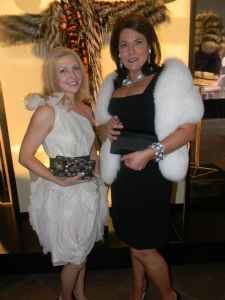 Iryna Zkkava, Prada asst. mgr with store manager Chiara Grant, resplendent in black and white.