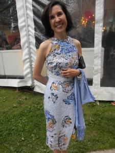 Mona Mazza, wearing Belgian designer, Michael Van Derharn