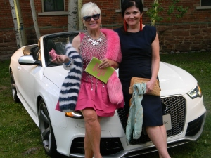 Artist Shari Applebaum and Aspen Magazine Publisher, Janet O'Grady, in front of the Audi