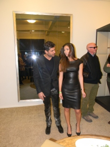 Designer Jitrois with one of his models at in-store event