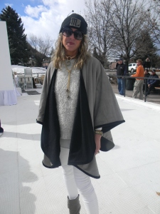 Mountain Hides designer, Laura Schock wearing her own creation