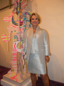 Diane Halle with Aaron Curry sculpture