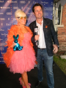Oliver Sharpe of Aspen 82 with Shari Applebaum in Oscar de la Renta
