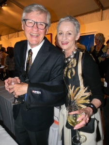 Allan and Kelli Questrom wearing vintage Brazilian print in honor of artist Ernesto Neto