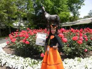 In front of the Flemington racecource in my new outfit from the famous Myer department store.   When in Melbourne....