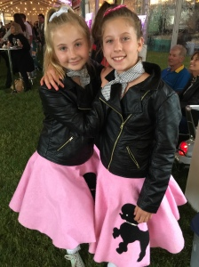 Stella and Lexi in their poodle skirts.